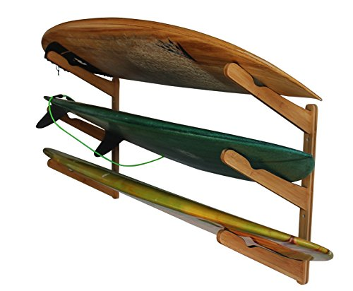 Triple | 3 Board Surfboard Holz Wand Rack | Display für Surfbrett | Longboard, Shortboard | Wake Kite- und Snowboard, bambus (brown)