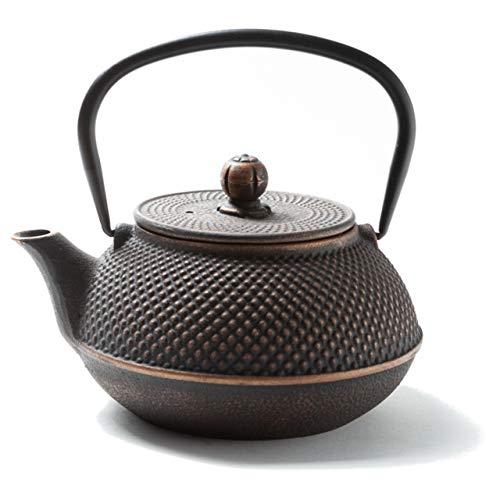 Tealøv TEEKANNE GUSSEISEN 800 ml - Gusseisen Teekanne im japanischen Stil - Gusseiserne Teekanne mit Sieb aus Edelstahl - Hervorragende Wärmespeicherfähigkeit - Langlebig - Arare Kupfer