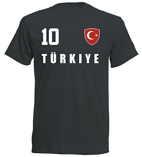 Türkei Türkiye WM 2018 T-Shirt Trikot - schwarz ALL-10 - S M L XL XXL (2XL)
