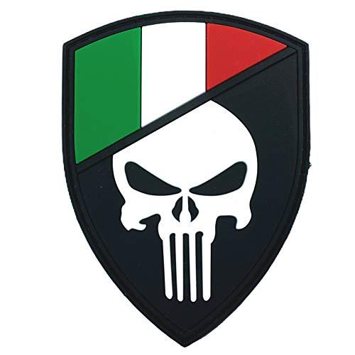 Italien Italienisch Flagge Punisher Im Dunkeln Leuchten Cosplay Airsoft PVC Klett Emblem Abzeichen Patch
