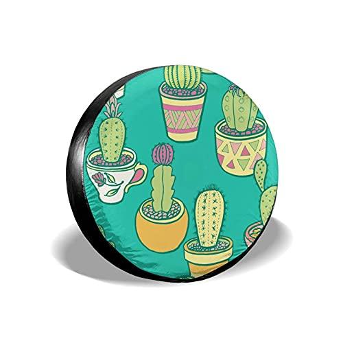 QQIAEJIA Cubierta de neumático de Repuesto Protectores de Rueda de jardín de Cactus Funda de poliéster Resistente a la Intemperie para Todos los SUV Camper