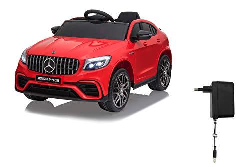Jamara 460649 Ride-on Mercedes-Benz AMG GLC 63 S Coupé 12 V – tracción 4 velocidades USB 4 Motores de Motor de Alta Potencia, Eje Trasero con suspensión, indicador de Voltaje de la batería, LED Rojo
