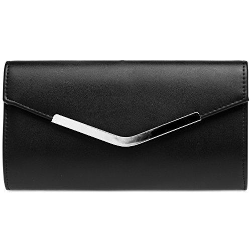 Caspar TA384 elegante Damen Envelope Clutch Tasche Abendtasche mit langer Kette, Farbe:schwarz, Größe:One Size