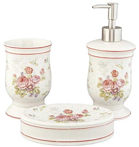 Clayre & Eef 62820 Badezimmer Set (3) Romantisch Rosen Motiv Landhausstil Weiss/Rosa Seifenspender Seifenschale Becher Badzubehör Toilettenzubehör