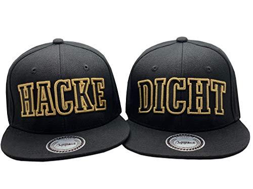 Outfitfabrik Cap Set, 2 Snapback Caps Hacke und Dicht in schwarz mit goldenem 3D-Stick (Festival, Alkohol, Statement, Saufen), für Männer und Frauen