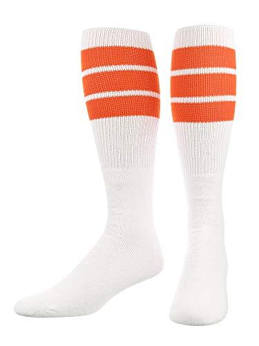 TCK Retro 3 Stripe Tube Socks (Orange, Large)