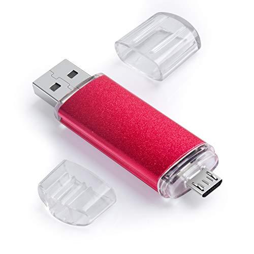 KOOTION Clé USB 64 Go Dual Port 2 en 1 Cle USB Micro + Clef USB 2.0 Rouge Compatible avec Android Smartphone, PC, Tablette(64 Go, Rouge)