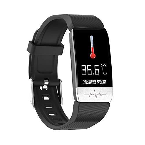 NUNGBE Temperatur, intelligentes Armband, Körpertemperatur, Monitor, Elektrokardiogramm, Herzfrequenz, Monitor, Fitness-Armband, Aktivitäts-Tracker, intelligente Uhr-Schwarz