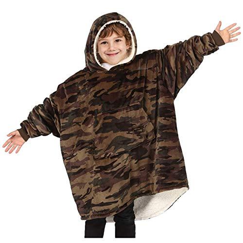 Felpa con Cappuccio Oversize per Adulti e Bambini, Pullover in Pile Mimetico con Tasca Gigante, Coperta indossabile Sherpa Super Morbida e Calda, Taglia Unica
