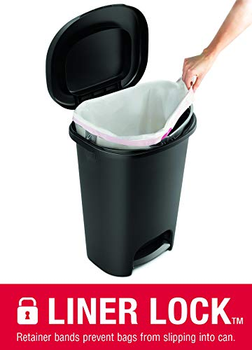 Rubbermaid NEW 2019 VERSION Step-On Lid Trash Can for Home, Kitchen, and Bathroom Garbage, 13 Gallon, Black