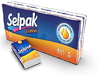 Selpak Hanky Pocket Tissue - Lotioned For Delicated Skin, 10 packs 4 ply