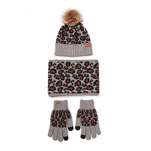 SUCHUANGUANG 3Pieces Women Winter Leopard Knit Pompom Beanie Hat Scarf Touch Screen Gloves Set Acrylic Fiber Beanie Hat