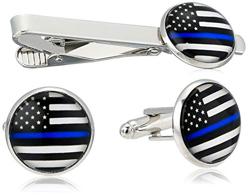 American Flag Tie Bar Clip and Cufflinks Set - Silver Colored Metal Plated - Luxury Clothing Accessories (Thin Blue Line)
