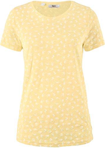 Damen Flammgarn-Shirt mit kurzen Ärmeln, 243822 in Hellgelb Bedruckt 40/42