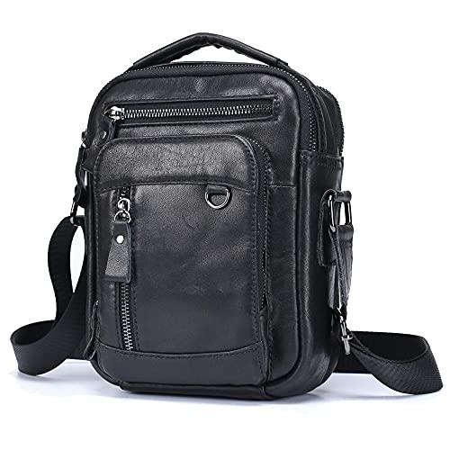 Borsa messenger uomo borsa verticale in pelle cartella porta tablet 8 pollici-nero