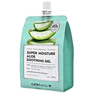 CELEBEAU - Super Moisture Aloe Soothing Gel - 95% Aloe Extract - Maximum Soothing & Hydration for All Sensitive Skin Types - Excellent After Sun Care Relief - 300g