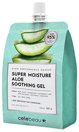 CELEBEAU Ultra-Moisture 95% Aloe Vera Soothing Gel with Camellia Extract, 10 Oz, Korean Skin Care, Moisturizer & Hydration for All Sensitive Skin Types, Excellent After Sun Care Relief, After-shave Effect, Shooting & Cooling Gel