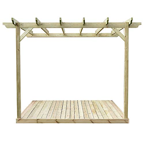 Rutland County Garden Furniture Wall Mounted Wooden Pergola and Decking Kit (3m x 3m, Light Green)