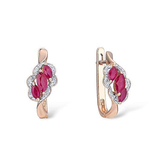 DEYUOIJ 14K 585 Orecchini a Forma Floreale in Oro Rosa per Donne Glamour Rubino Diamante Scintillante Elegante gioielleria di Lusso alla Moda
