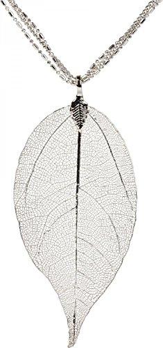 styleBREAKER Halskette mit filigranem Baum-Blatt Anhänger, 3 Ketten, Karabinerverschluss, Damen 05030018, Farbe:Silber