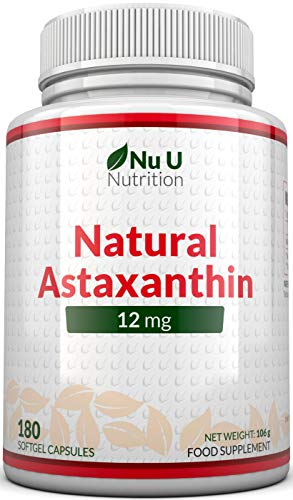 Astaxanthin 5% Oil 12mg | 180 Softgels (6 Month Supply) | Astaxanthin from Nu U Nutrition