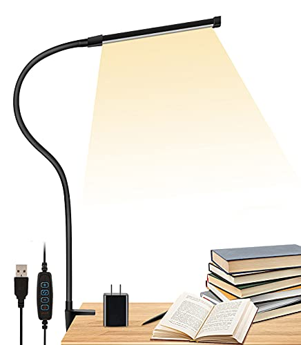 LED Desk Lamp with Clamp, LIBORA Eye-Caring Reading Light with USB Adapter, 3 Modes 10 Brightness, Long Flexible Gooseneck, Architect Task Clip on Lamp, Memory Function, Table Lamps for Home Office
