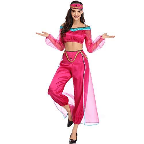 CGBF - Disfraz de princesa árabe de Jasmine Aladdin, disfraz de Halloween, disfraz de fiesta, parte superior y pantalones y sombrero, rosa, M