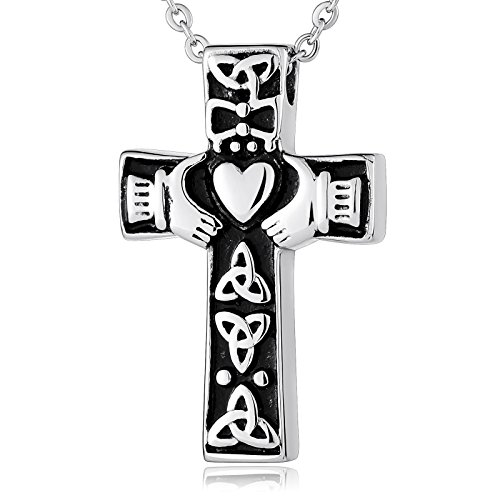 Epinki Stainless Steel Claddagh Celtic Knot Cross Pendant Silver Cremation Urn Ashes Necklace Engravable