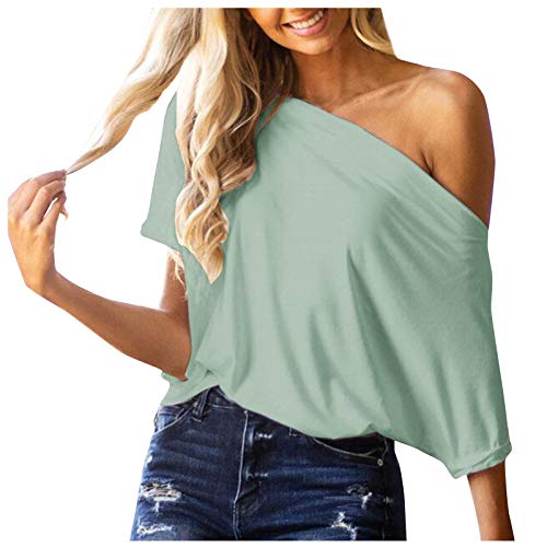 CUTUDU Women Tops Loose Solid Irregular Short Sleeve Baggy T-Shirt Ladies Fashion Off Shoulder Sexy Casual Tunic Shirt Blouse Pullover Jumper (A-Green, M)