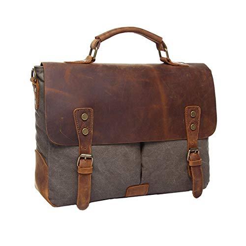 SHENGY bruine heren tas van canvas, aktetas van leer, zakelijke reistas van leer, 14 inch laptoptas, grote capaciteit