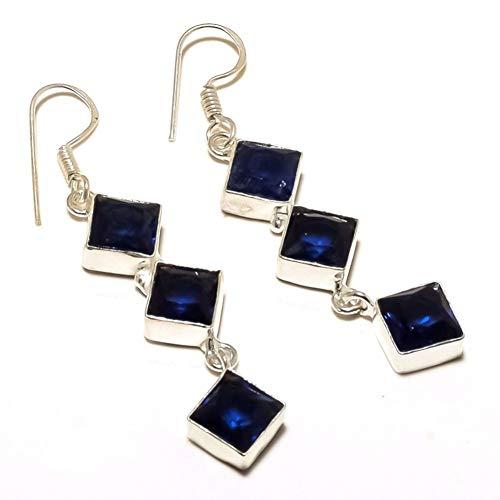 Pendientes de cuarzo azul TANZANITA para cónyuge de 2,5 pulgadas de largo, ¡MODA DE MODA! Joyería de arte hecha a mano chapada en plata esterlina. Tienda de variedad completa