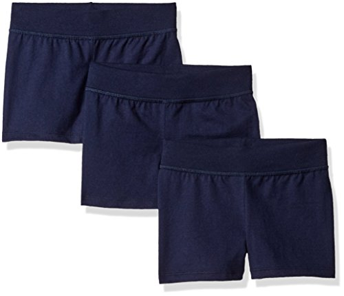 Hanes Little Girls' Jersey Short (Pack of 3), Navy, Medium