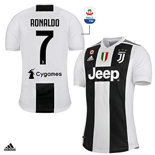 Juventus Maglia Ronaldo Gara Home Authentic 2018/19 - Originale - Uomo - Patch Scudetto e Coppa Italia Sempre Incluse - Taglia M - Patch Serie A