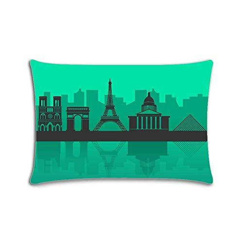 Funda de almohada personalizada con cremallera, diseño de Skyline of Paris, color verde