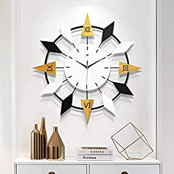Wood and Metal Wall Clock, Oversize Star Shaped Living Room Silent Decorative Quartz Clock Handmade Iron Frame MDF Wood Dial-c 45x45cm(18x18inch)