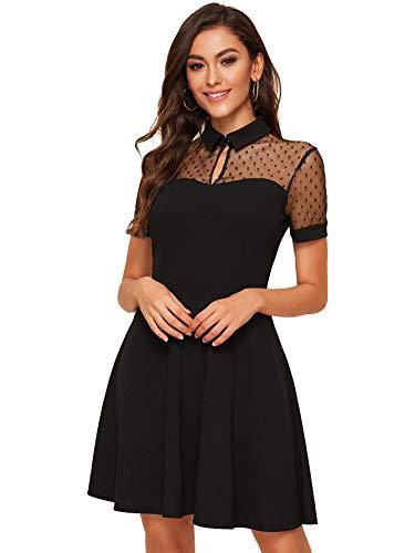 DIDK Damen Spitzenkleid Elegant Minikleid Elegant A Linie Partykleid Hohe Taille Netz Kleid Festliches Kleid Einfarbig Faltenkleid Sexy Shortkleid Schwarz XS
