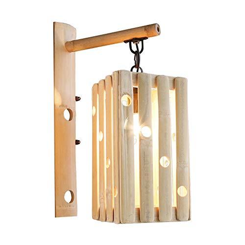 Scra AC Lámpara de pared de bambú, diseño de viento chino, lámpara de pared creativa para salón (240 mm de ancho, 380 mm de alto, rosca E27)