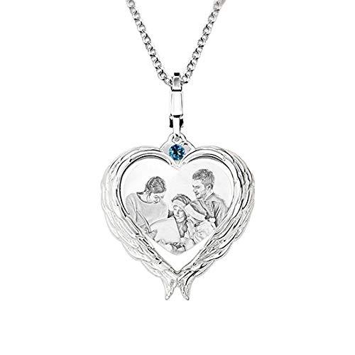 Collar de foto personalizado Collar de piedra de nacimiento Collar en forma de corazón Collar de plata 925 Aniversario para novia(Plata 22)