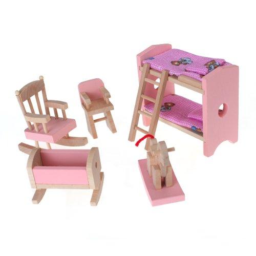 Minatur Doppelstockbett, Schaukelpferd, Schaukelstuhl, Hochstuhl, Wiege Puppenmöbel Kinderzimmer Satz für Puppenhaus Deko