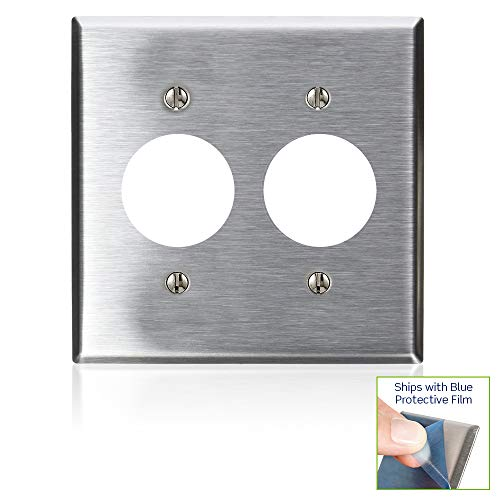 Leviton 84052-40 2-Gang Single 1.406-Inch Hole Device Receptacle Wallplate, Device Mount, Stainless Steel
