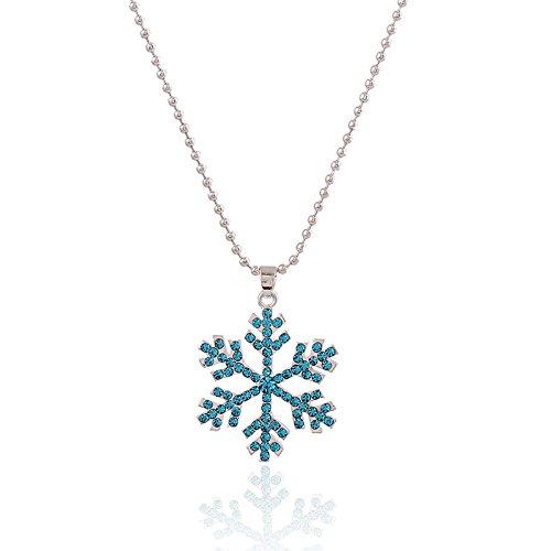 ACE Frozen collier pendentif en cristal de flocon de neige au cours de forage-Blue