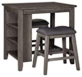 Signature Design by Ashley Caitbrook Counter Height Dining Room Table Set with 2 Barstools, Gray