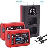 Baxxtar Pro (2X) Compatible con batería Sony NP-FW50 - Mini 1851 LCD Dual Cargador- (Entrada USB-C y MicroUSB)