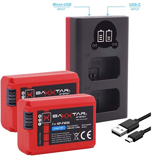 Baxxtar Pro (2X) Ersatz für Akku Sony NP-FW50 mit Mini 18592 LCD DUAL Ladegerät (Eingang USB-C und MicroUSB)