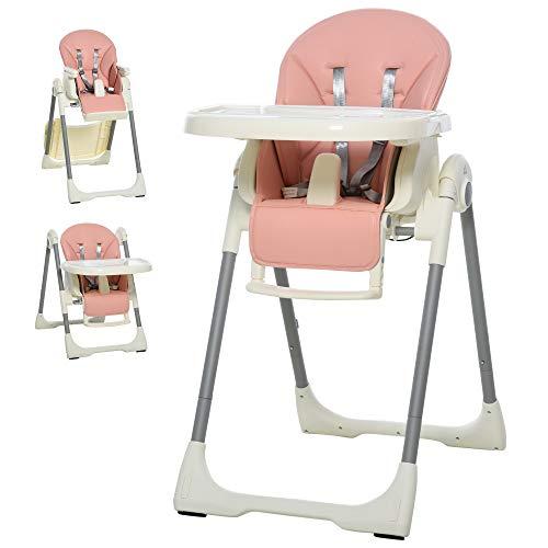 HOMCOM Baby Hochstuhl Babystuhl mit Fußstütze Kinderhochstuhl Tisch mit abnehmbarem Tablett höhenverstellbar und klappbar für 6-36 Monate PP Stahl Rosa 55 x 80 x 104 cm
