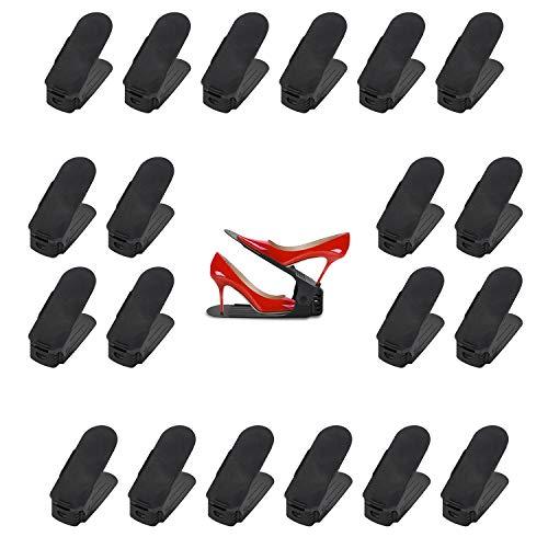 BMOT 20 Stück Einstellbare Schuhregale, Verstellbarer Schuhstapler/Schuhhalter Set, 3 höhenverstellbar, Platzsparend, Rutschfest(Schwarz)