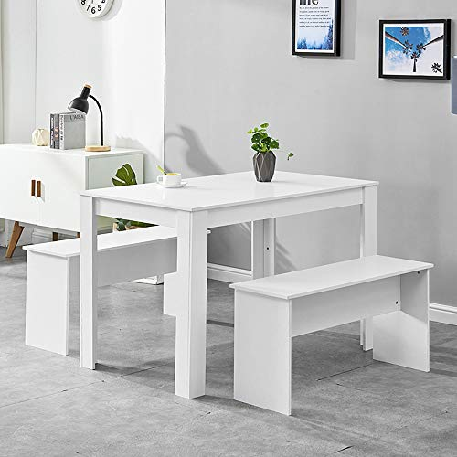 HomeSailing White Dining Table and 2 Benches Wooden Finish 3 Piece Kitchen Dinette Table and Chairs Set with 4 Seat Space Saver for Small Apartment