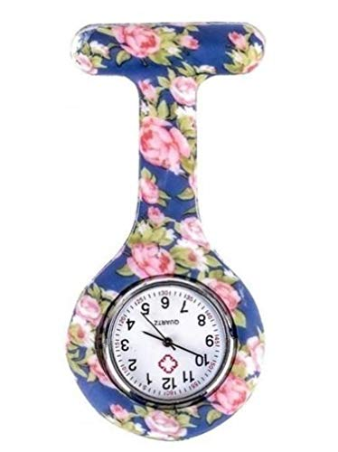 Blue Pink Peony Pattern Silicone Nurses Brooch Tunic Pocket Watch Stainless Dial Valentine's Day Present