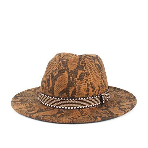 MADONG Damas Retro de Las Bragas del Sombrero de ala del Sombrero de Lana de poliéster Hombres de Sombrero Cloche otoño Invierno Fieltro Jazz Sombrero (Color : 3, Size : 56-58cm)