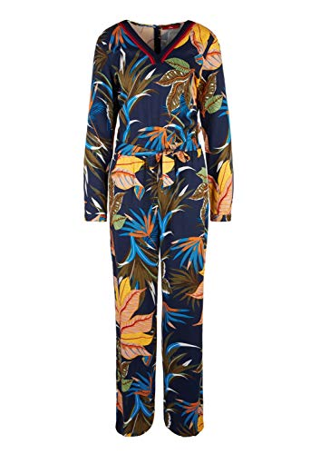 s.Oliver RED Label Damen Twill-Jumpsuit mit geripptem V-Neck Dark Blue AOP 42 - 2